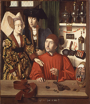 The Goldsmith in His Shop by Petrus Christus, on display at the Metropolitan Museum of Art